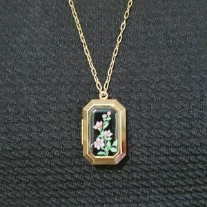 Purple Flower Locket on Gold Tone Necklace